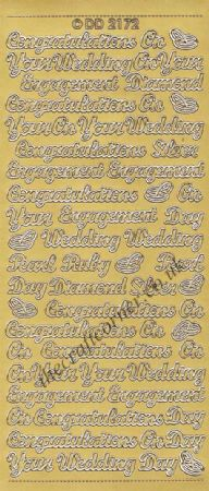 Congratulations On Your Wedding, Engagement, Anniversary Wording & Rings Peel Off